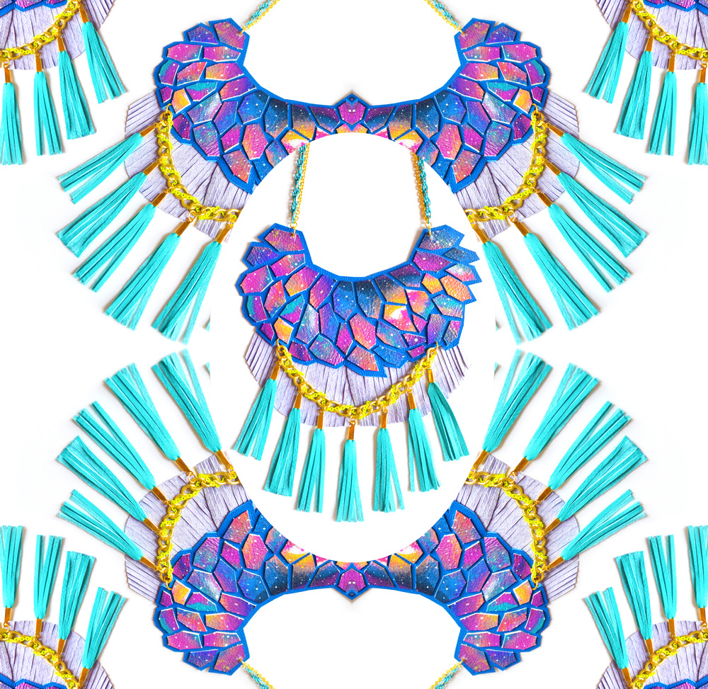 Galaxy Statement Necklace Leather Geometric Hexagon and Teal Fringe Statement Jewelry 6.jpg