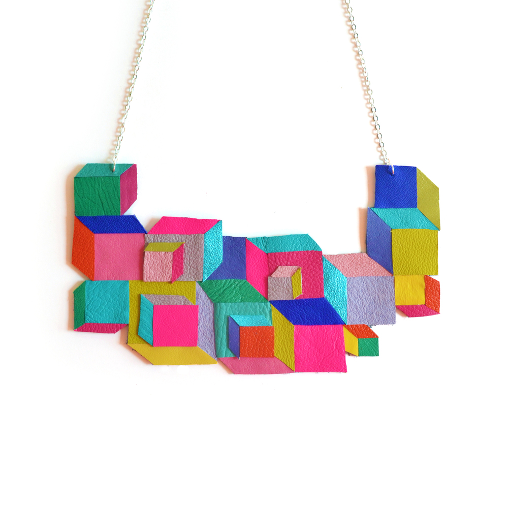 Cube Geometric Necklace, Escher Squares, Leather Bib Necklace, Neon Rainbow Jewelry 2.jpg