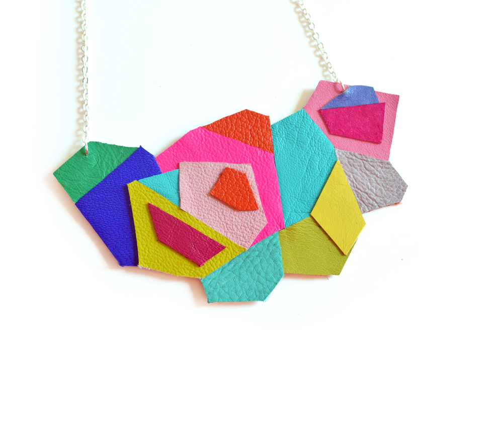 Geometric Necklace, Neon Bib Necklace, Faceted Polygon Leather Jewelry 5.jpg
