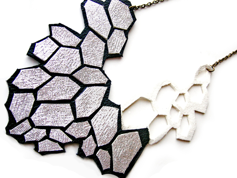 Geometric Necklace Leather Modern Silver Cells 2.jpg