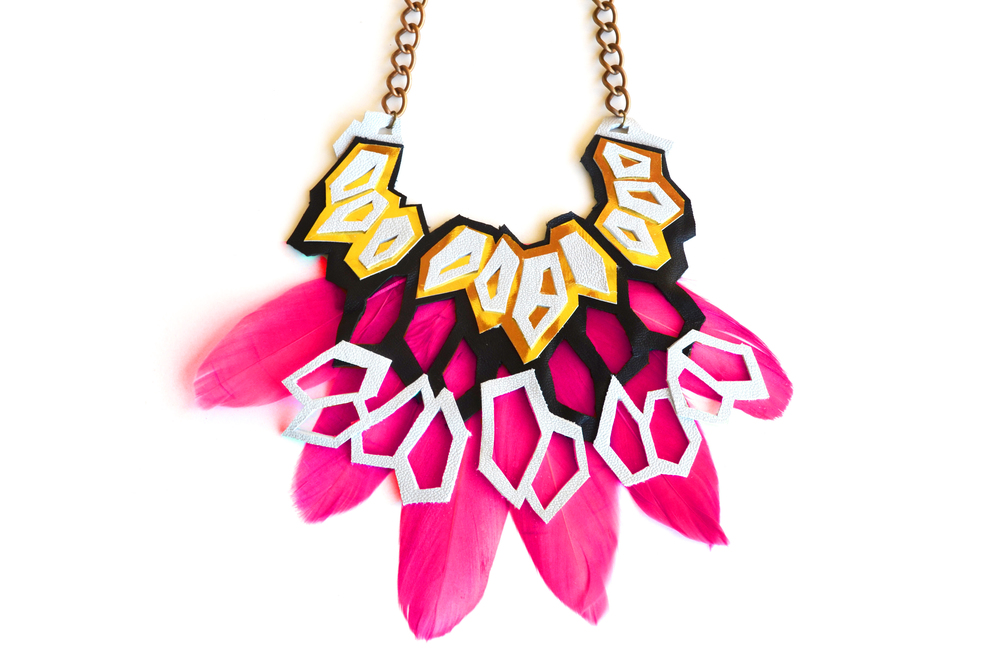 Metallic Necklace Geometric Hexagons and Pink Feathers.jpg
