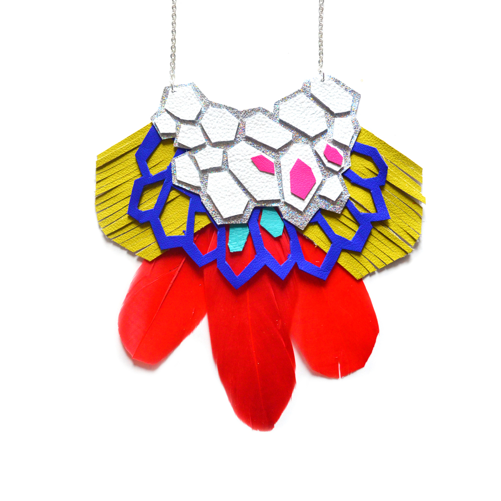 Leather Feather Statement Necklace, Geometric Hexagons Bib Necklace, Red and Electric Blue Statement Jewelry 2.jpg