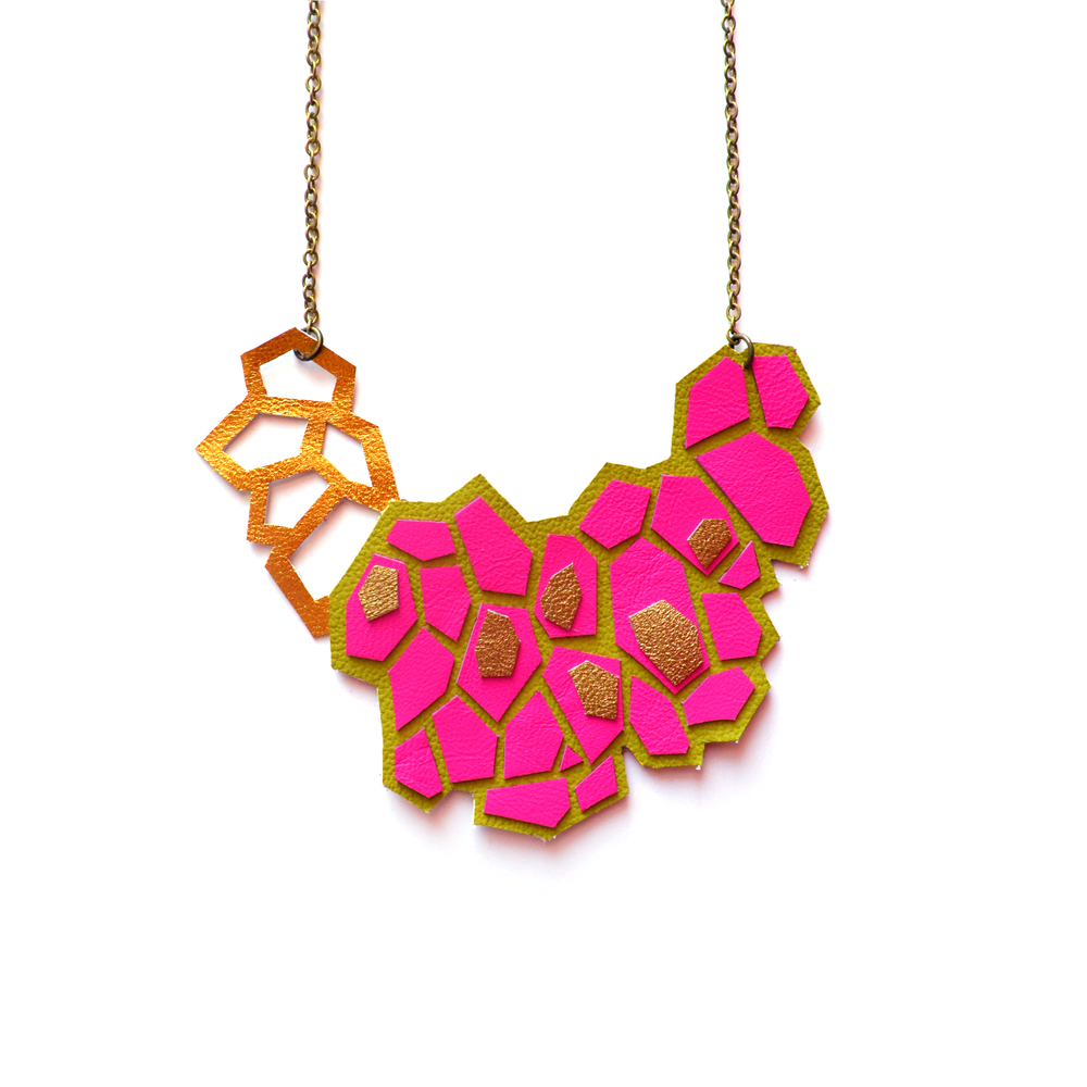 Neon Pink Statement Necklace, Leather Bib Necklace, Hexagon Geometric Necklace, Intricate Necklace, Green and Gold Metallic Necklace, Geometric Jewelry 5.jpg