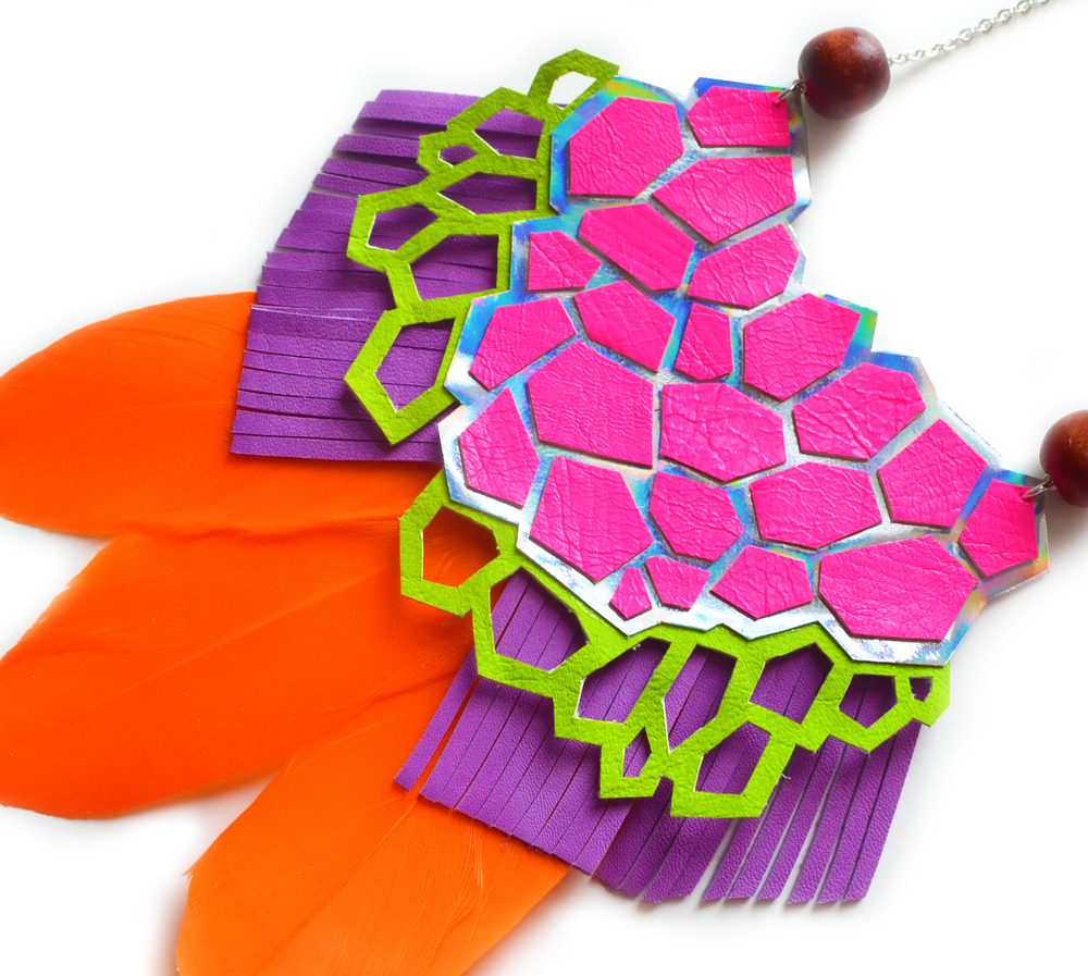 Pink Statement Necklace, Geometric Necklace in Purple, Green and Orange, Metallic Neon Bib Necklace, Holographic Jewelry 6.jpg