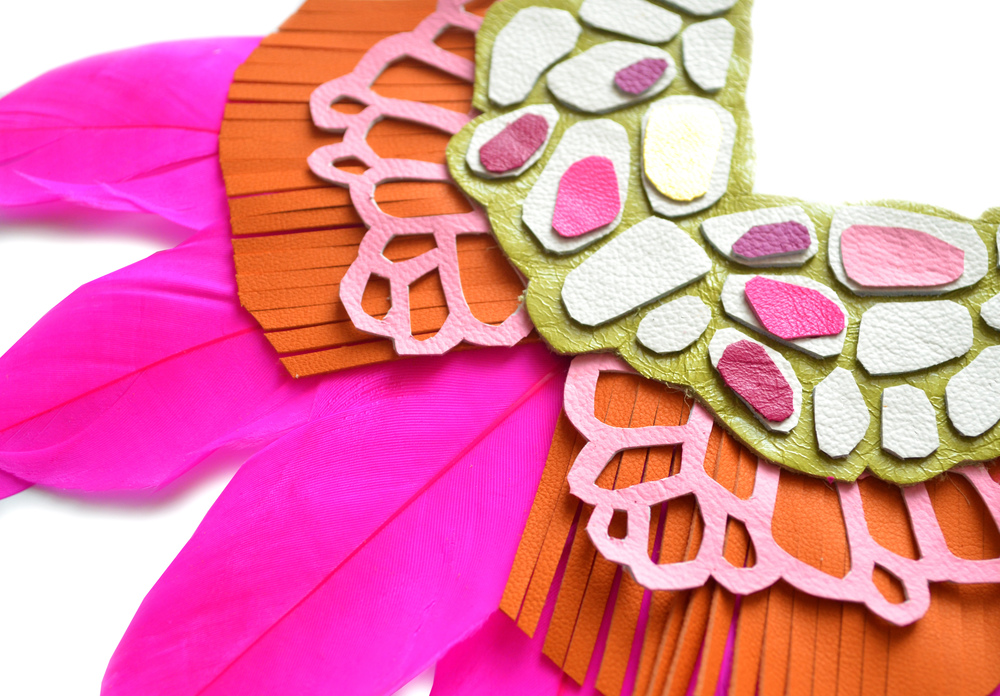 Neon Statement Necklace, Hot Pink Feather Bib Necklace, Orange and Green Geometric Necklace, Mosiac Lace Necklace 3.jpg
