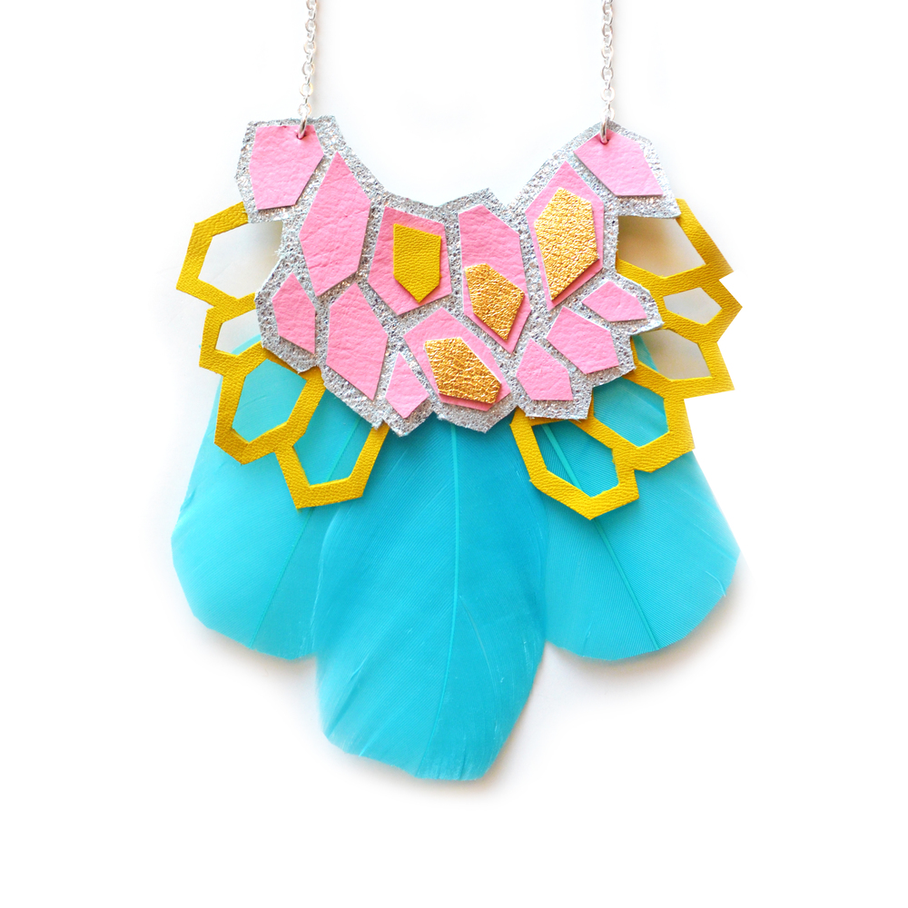 Blue Feather Bib Necklace, Leather Statement Necklace, Rainbow Hexagon Necklace, Pink, Pink Yellow and Silver Geometric Necklace 2.jpg
