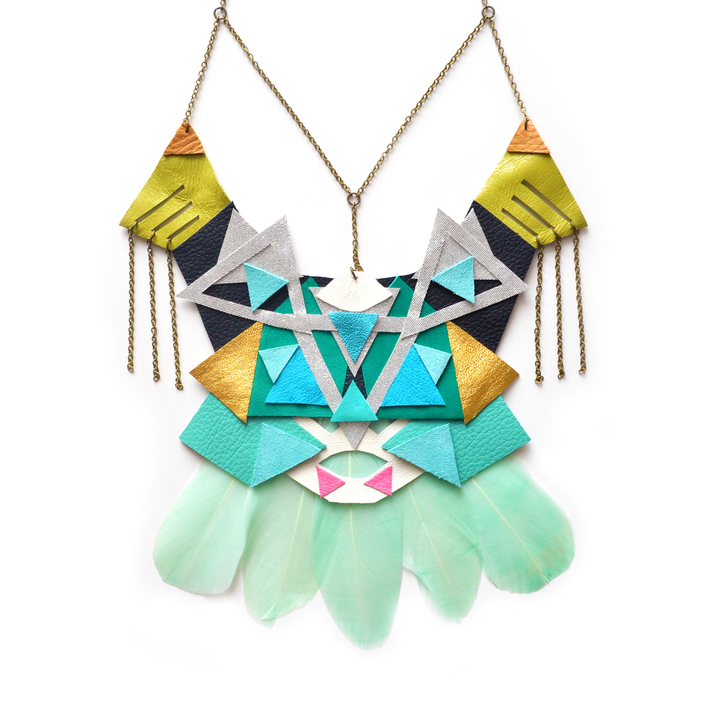 Green Mint Feather Statement Necklace, Geometric Leather Triangles, Tribal Statement Jewelry 6.jpg