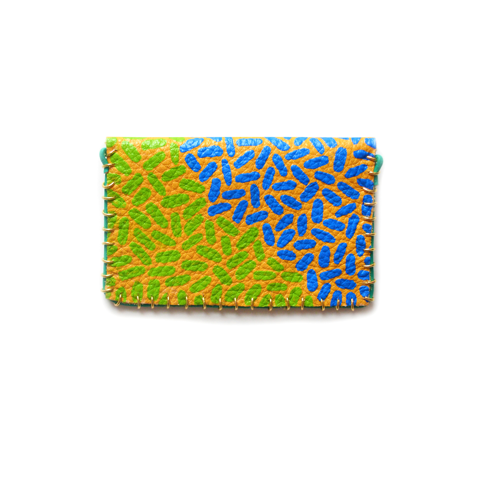 Yellow Leather Pouch, Coin Purse, Colorful Mini Bag, Green Turquoise and Blue Abstract Art, Business Card Holder 4.jpg