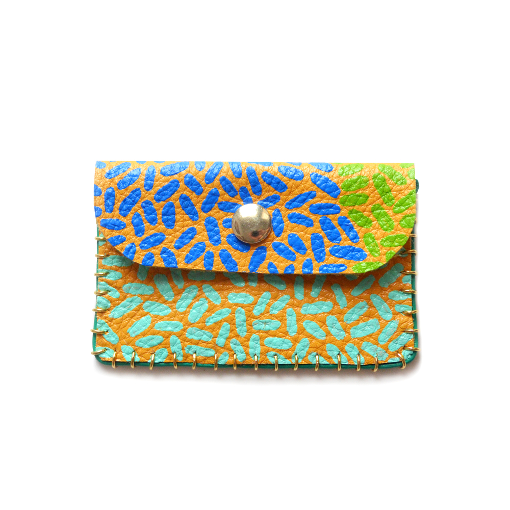 Yellow Leather Pouch, Coin Purse, Colorful Mini Bag, Green Turquoise and Blue Abstract Art, Business Card Holder.jpg