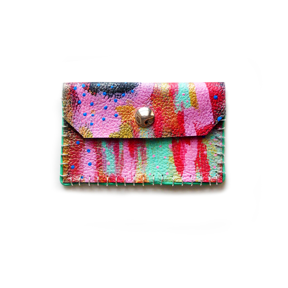Small Leather Pouch, Coin Purse, Colorful Mini Bag, Gold Pink Red and Mint Abstract Art, Business Card Holder.jpg