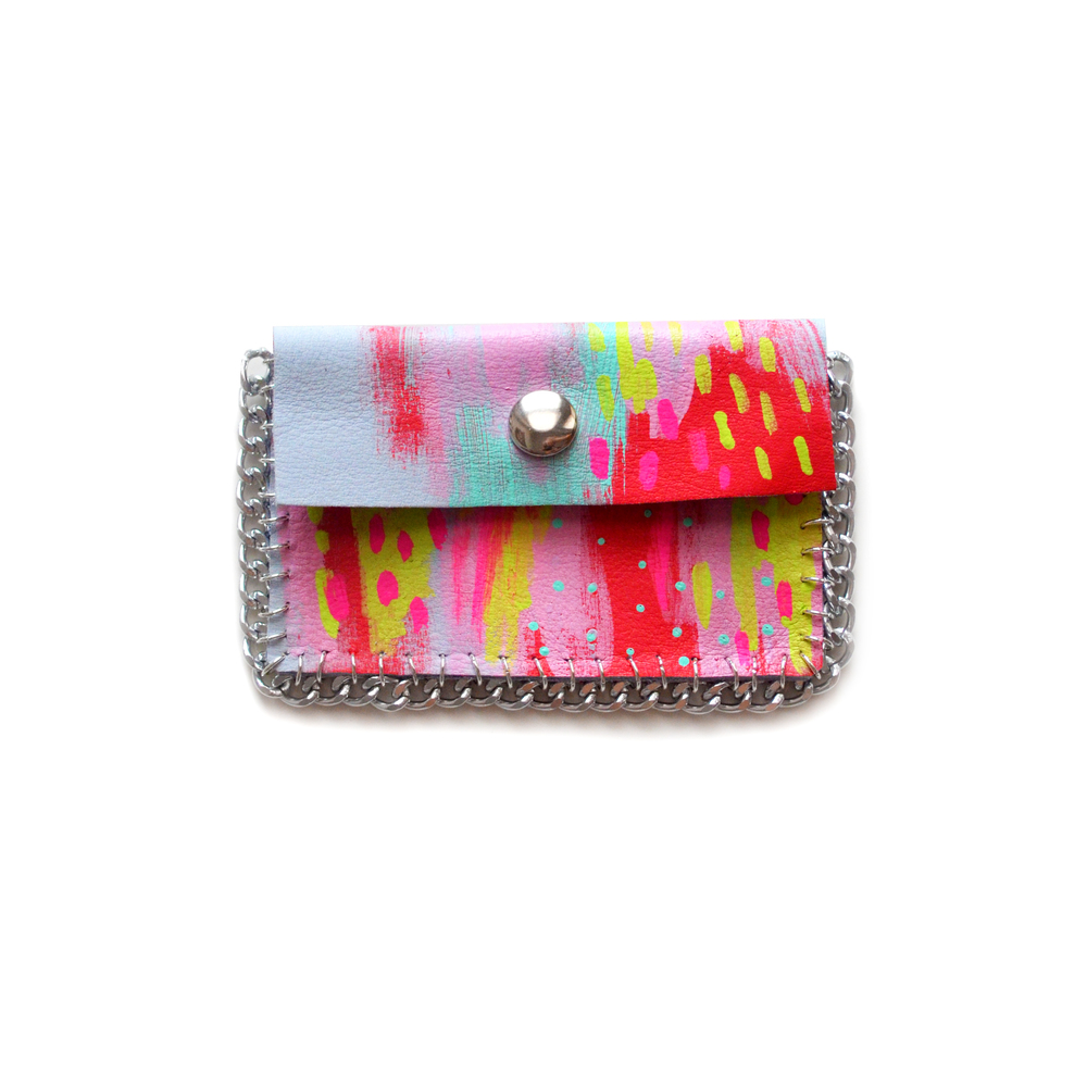 Small Leather Pouch, Colorful Mini Bag, Geometric Abstract Art Coin Purse, Business Card Holder  2.jpg