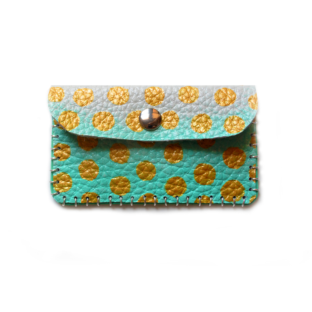 Mint and Gold Leather Pouch, Coin Purse, Colorful Mini Bag, Gold Polka Dot Bag, Abstract Art Accessory, Business Card Holder.jpg