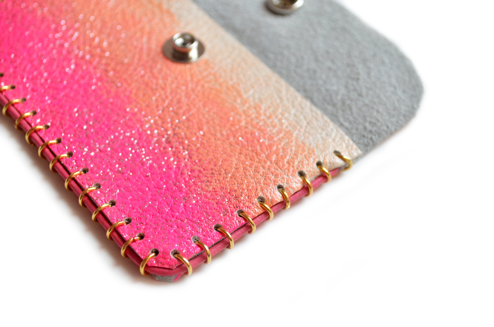 Pink and Peach Leather Pouch, Coin Purse, Colorful Mini Bag, Glitter Ombre Bag, Abstract Art Accessory, Business Card Holder 6.jpg