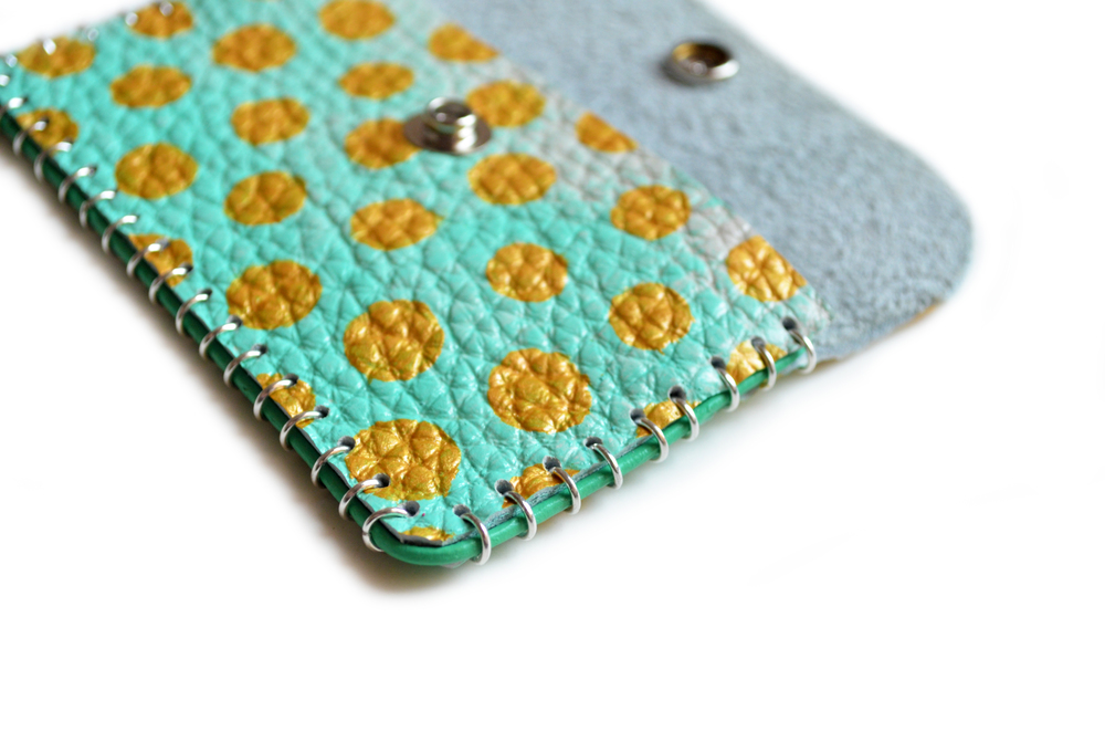 Mint and Gold Leather Pouch, Coin Purse, Colorful Mini Bag, Gold Polka Dot Bag, Abstract Art Accessory, Business Card Holder 6.jpg