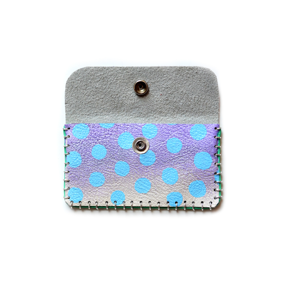 Lavender Ombre Leather Pouch, Coin Purse, Colorful Mini Bag, Blue Polka Dot Bag, Abstract Art Accessory, Purple Business Card Holder 2.jpg