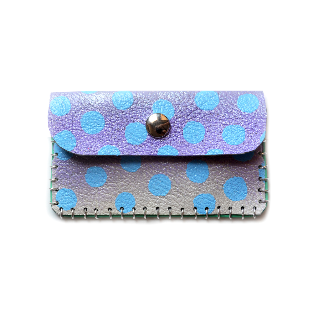 Lavender Ombre Leather Pouch, Coin Purse, Colorful Mini Bag, Blue Polka Dot Bag, Abstract Art Accessory, Business Card Holder.jpg