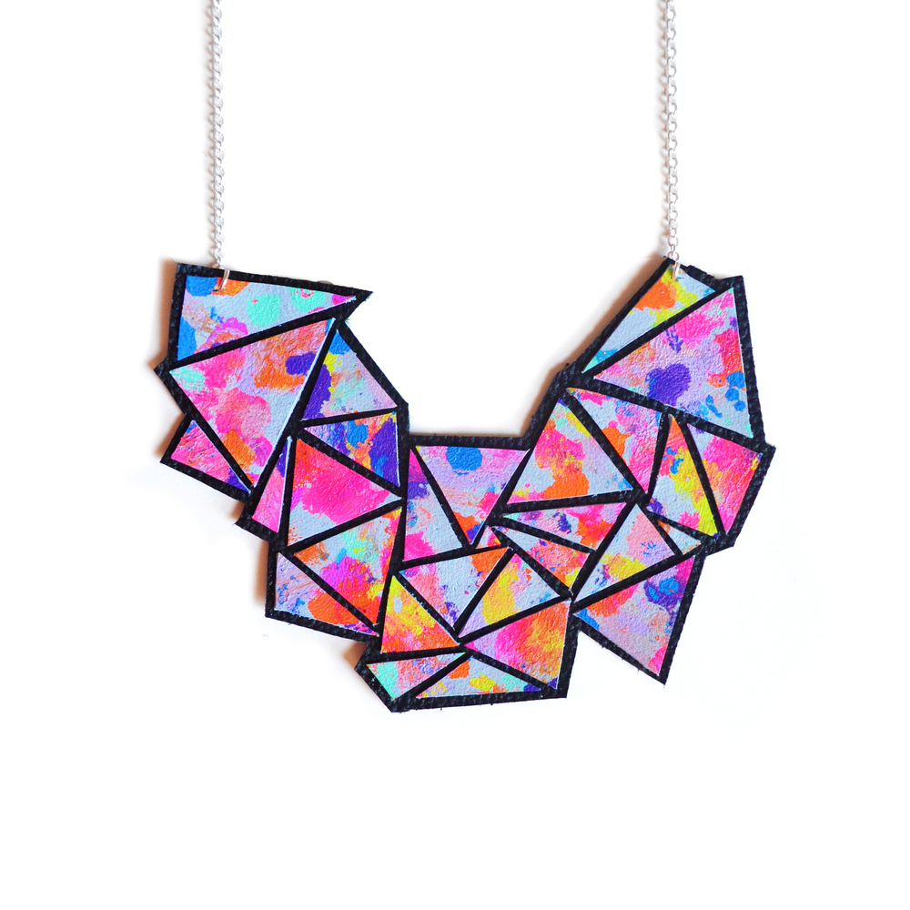Colorful Geometric Necklace, Rainbow Bib Necklace, Abstract Art Jewelry, Triangle Chevron Necklace 4.jpg