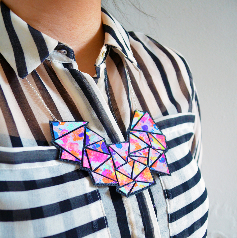 Colorful Geometric Necklace, Rainbow Bib Necklace, Abstract Art Jewelry, Triangle Chevron Necklace 2.jpg
