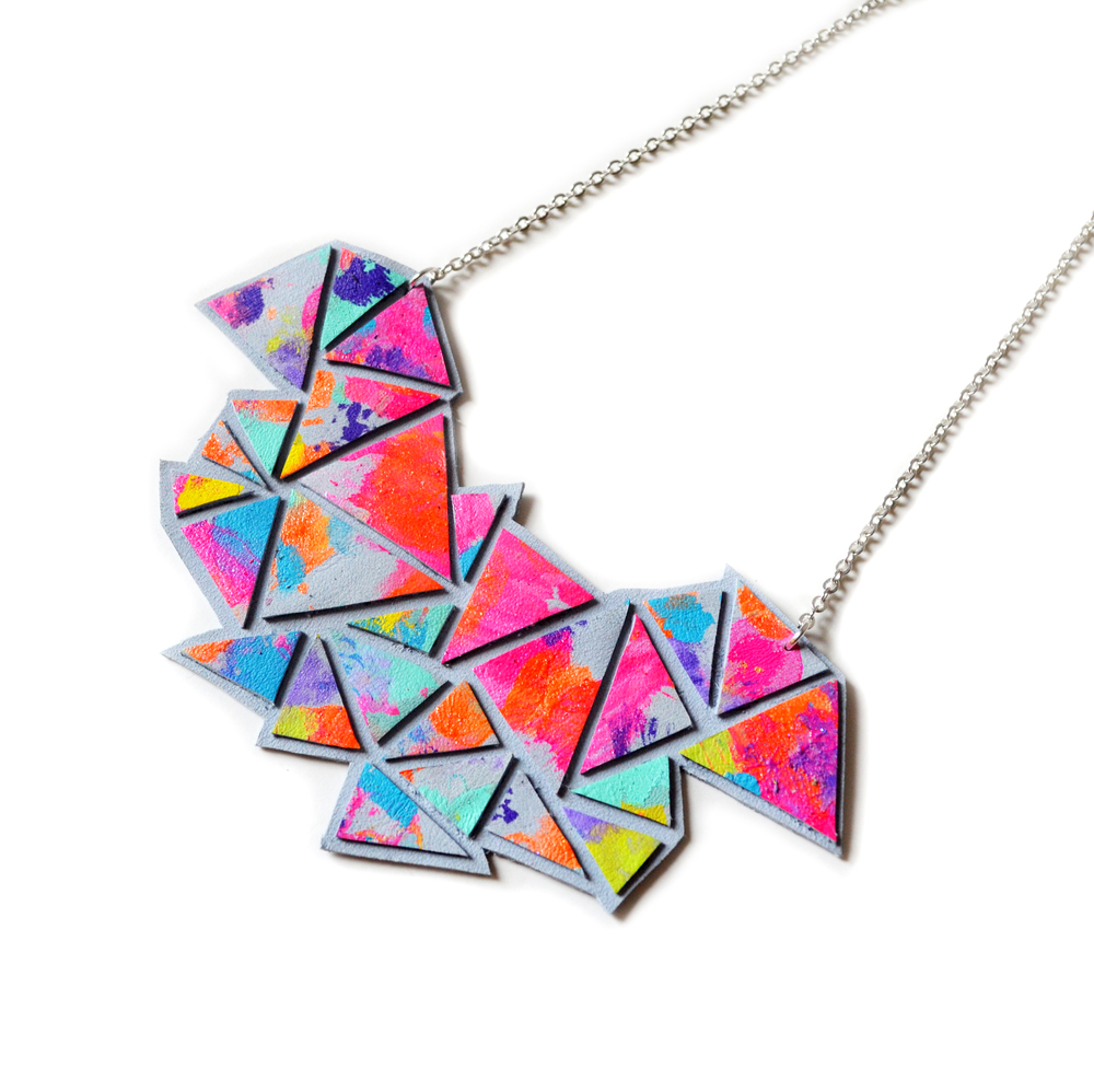 Geometric Bib Necklace, Chevron Necklace, Triangle Faceted Neon Kaleidoscope Necklace, Rainbow Necklace, Statement Jewelry 3.jpg