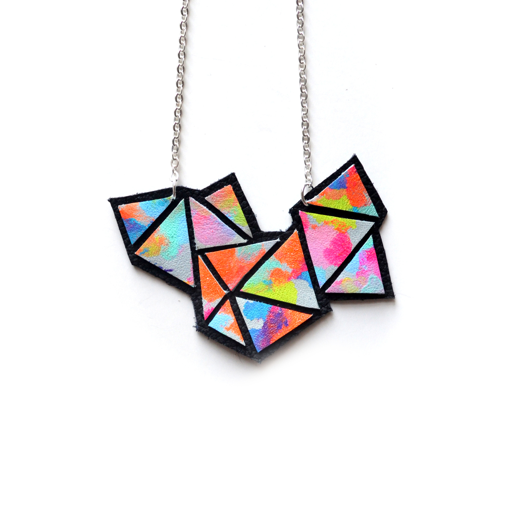 Colorful Geometric Necklace, Rainbow Bib Necklace, Ombre Neon Gradient, Triangle Necklace 2.jpg