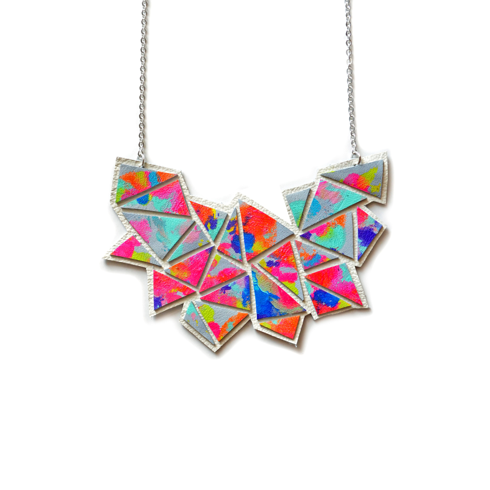 Geometric Bib Necklace, Chevron Necklace, Triangle Modern Neon Kaleidoscope Necklace, Rainbow Necklace, Statement Jewelry 2.jpg