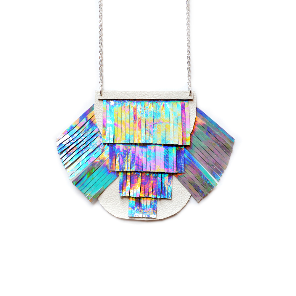 Holographic Fringe Necklace, Metallic Bib Necklace, Geometric Leather Necklace, Rainbow Tassel Modern Necklace, Space Futuristic Necklace 2.jpg