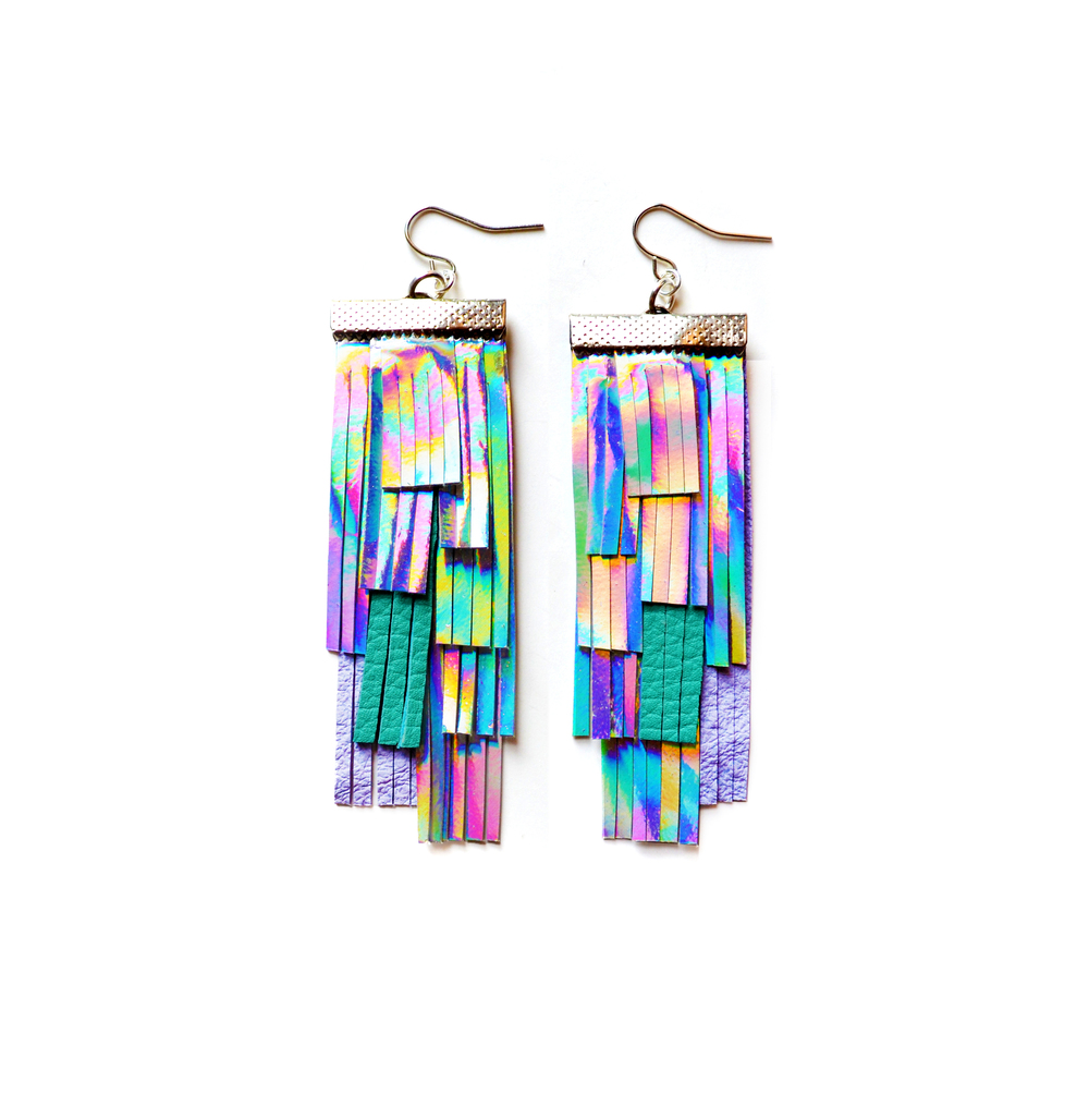 Holographic Leather Earrings, Hologram Fringe Earrings, Geometric Earrings, Silver Lavender and Turquoise Tassel Earrings, Irridescent Rainbow Statement Earrings 2.jpg