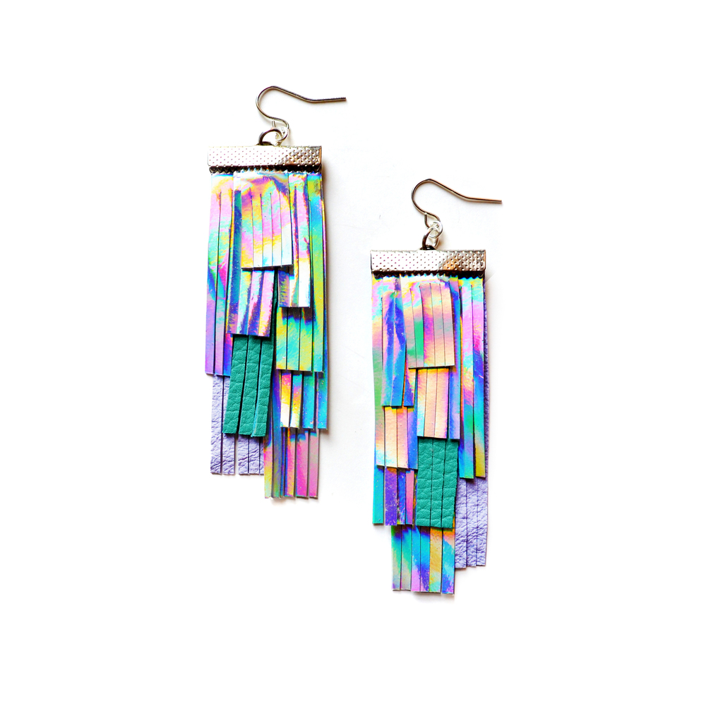 Holographic Leather Earrings, Hologram Fringe Earrings, Geometric Earrings, Silver Lavender and Turquoise Tassel Earrings, Irridescent Rainbow Statement Earrings.jpg