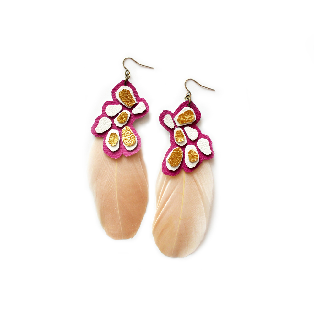 Geometric Earrings, Feather Earrings, Metallic Leather Earrings, Fuchsia, Gold and Beige Earrings.jpg