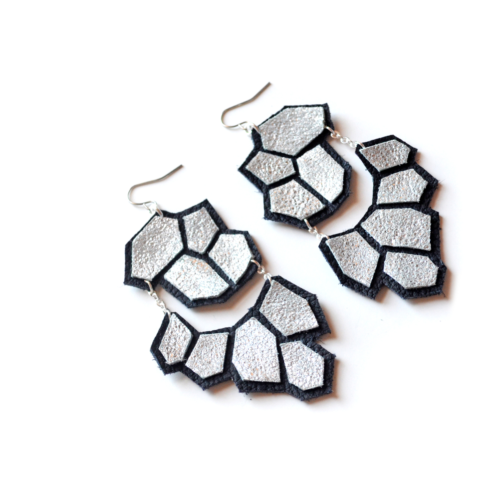 Silver Dangle Earrings, Hexagon Geometric Earrings, Big Statement Earrings, Black and Metallic Jewelry 3.jpg