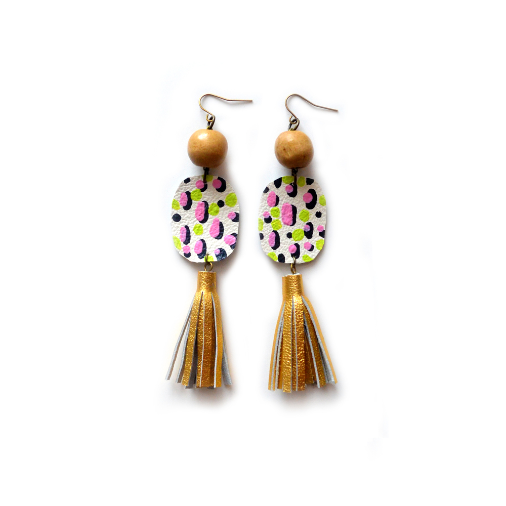 Gold Tassel Earrings, Wood Beaded Earrings, Geometric Earrings, Polka Dot Pattern Pink and Green Circle Earrings 4.jpg