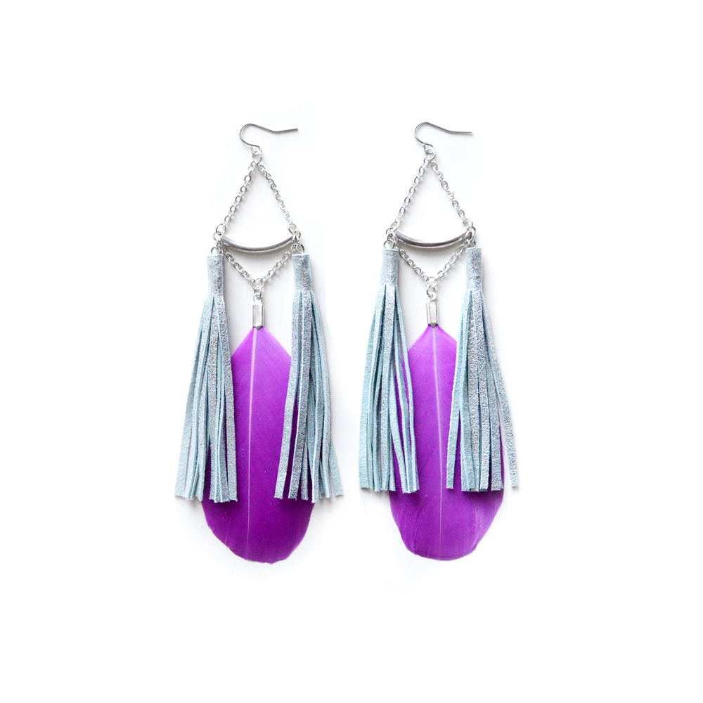 Purple Feather Earrings, Silver Tassel Earrings, Geometric Crescent Tube Earrings, Long Dangle Earrings 3.jpg