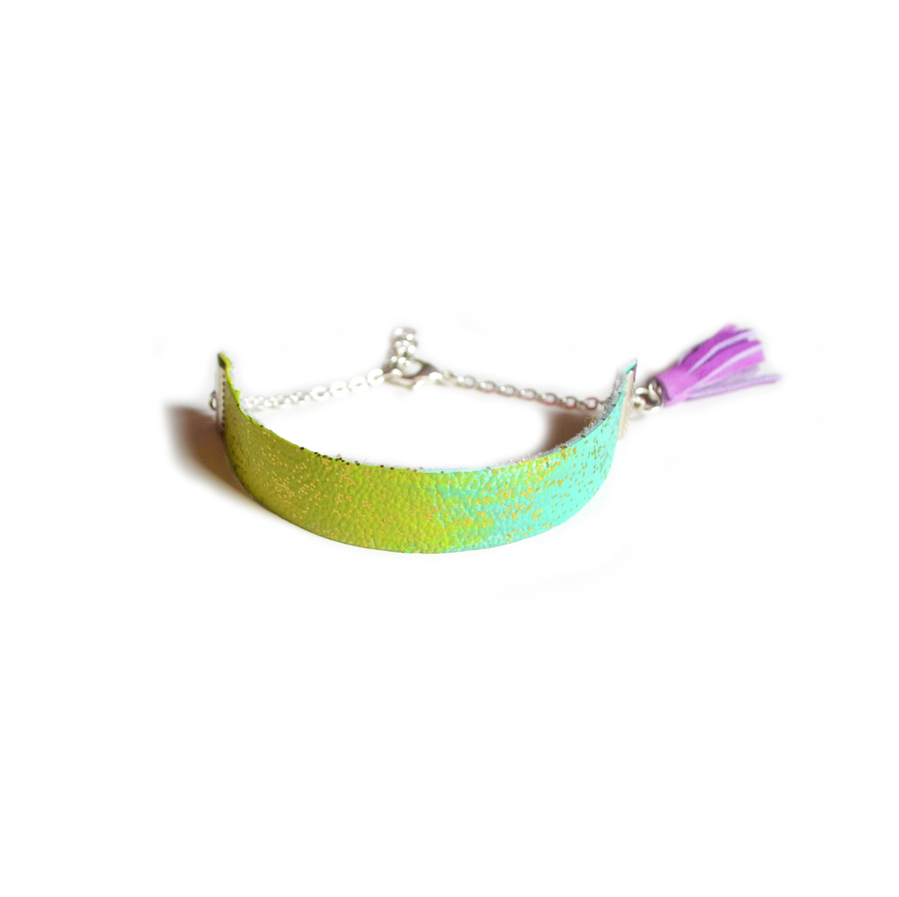 Mint Leather Bracelet, Purple Tassel Bracelet, Stacking Minimalist Bracelet, Leather Strip Bracelet in Turquoise and Neon Green 3.jpg