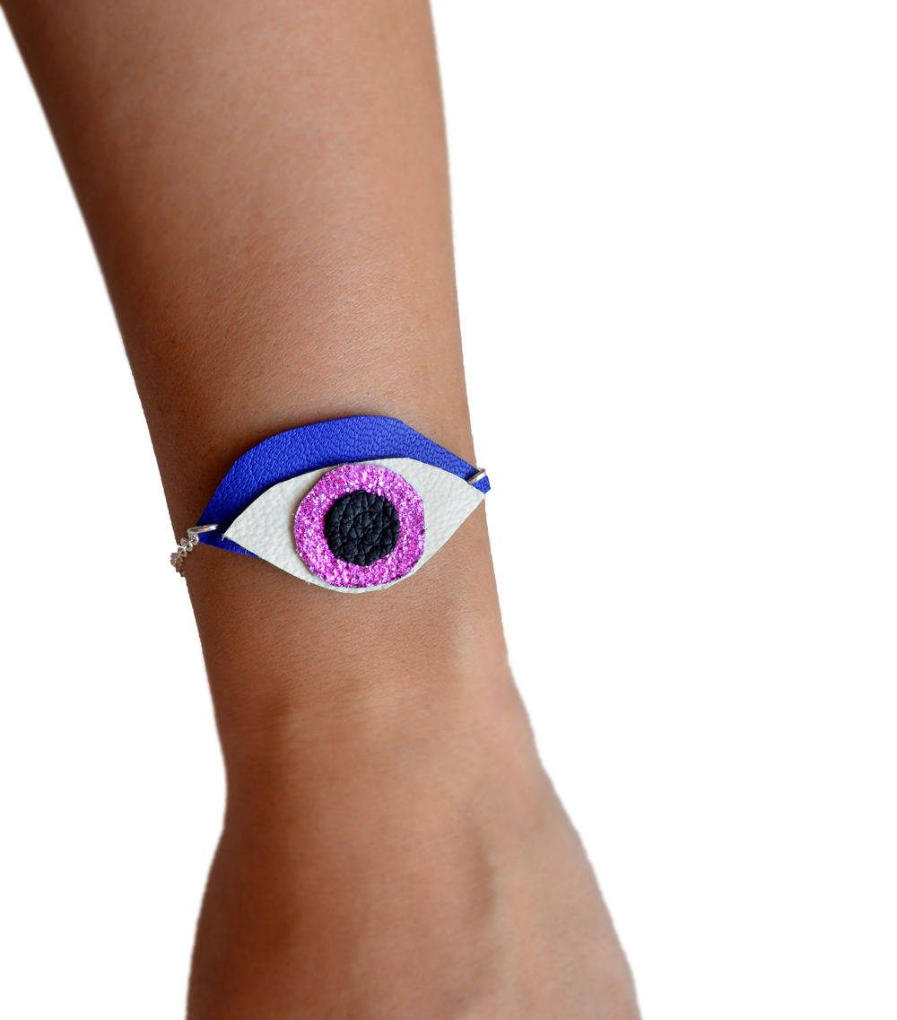 Leather Bracelet, Eye Charm Bracelet, Metallic Pink and Electric Blue, Minimalist Jewelry, Geometric Bracelet 2.jpg