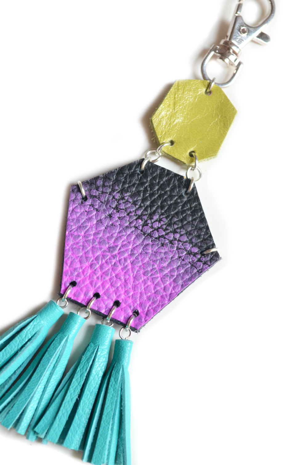 Tassel Key Chain, Purple Dipped Leather Tassel Key Chain, Turquoise Fringe Purse Clip, Purple Ombre, Teal and Green Leather Key Fob, Leather Accessories 2.jpg