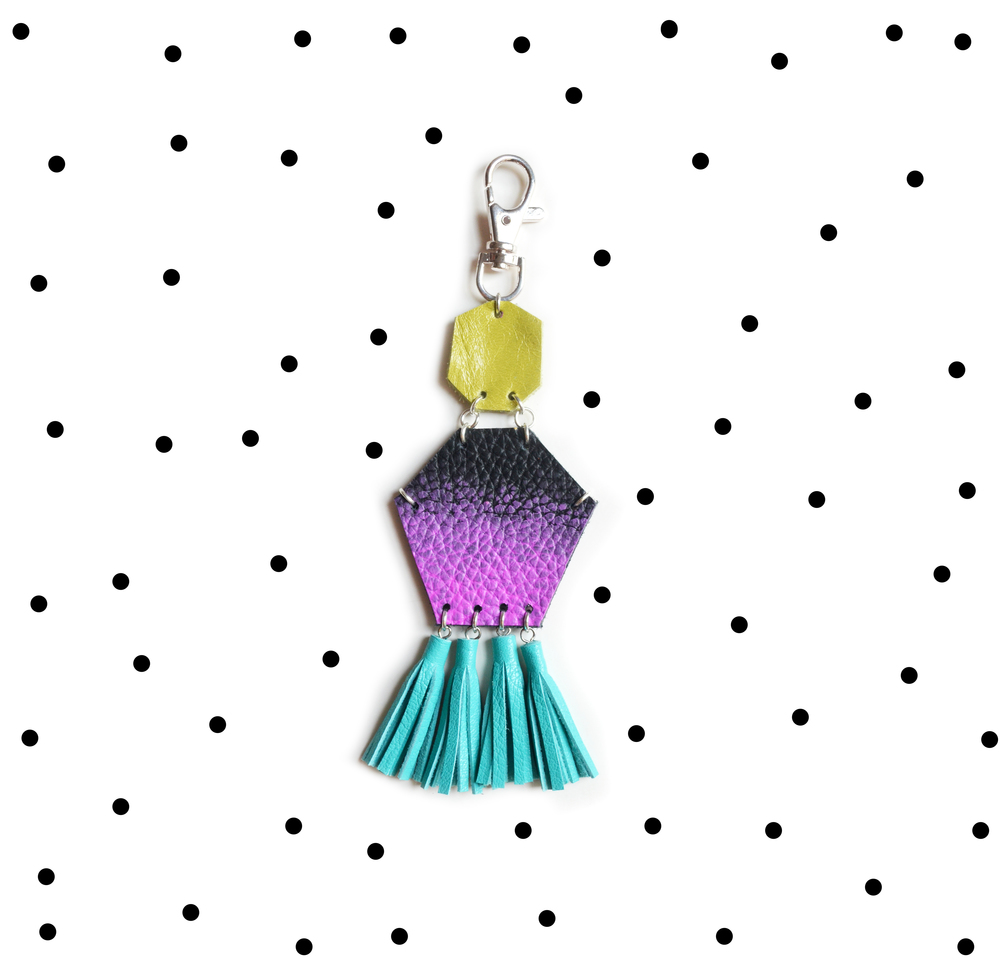 Tassel Key Chain, Purple Dipped Leather Tassel Key Chain, Turquoise Fringe Purse Clip, Purple Ombre, Teal and Green Leather Key Fob, Leather Accessories 4.jpg