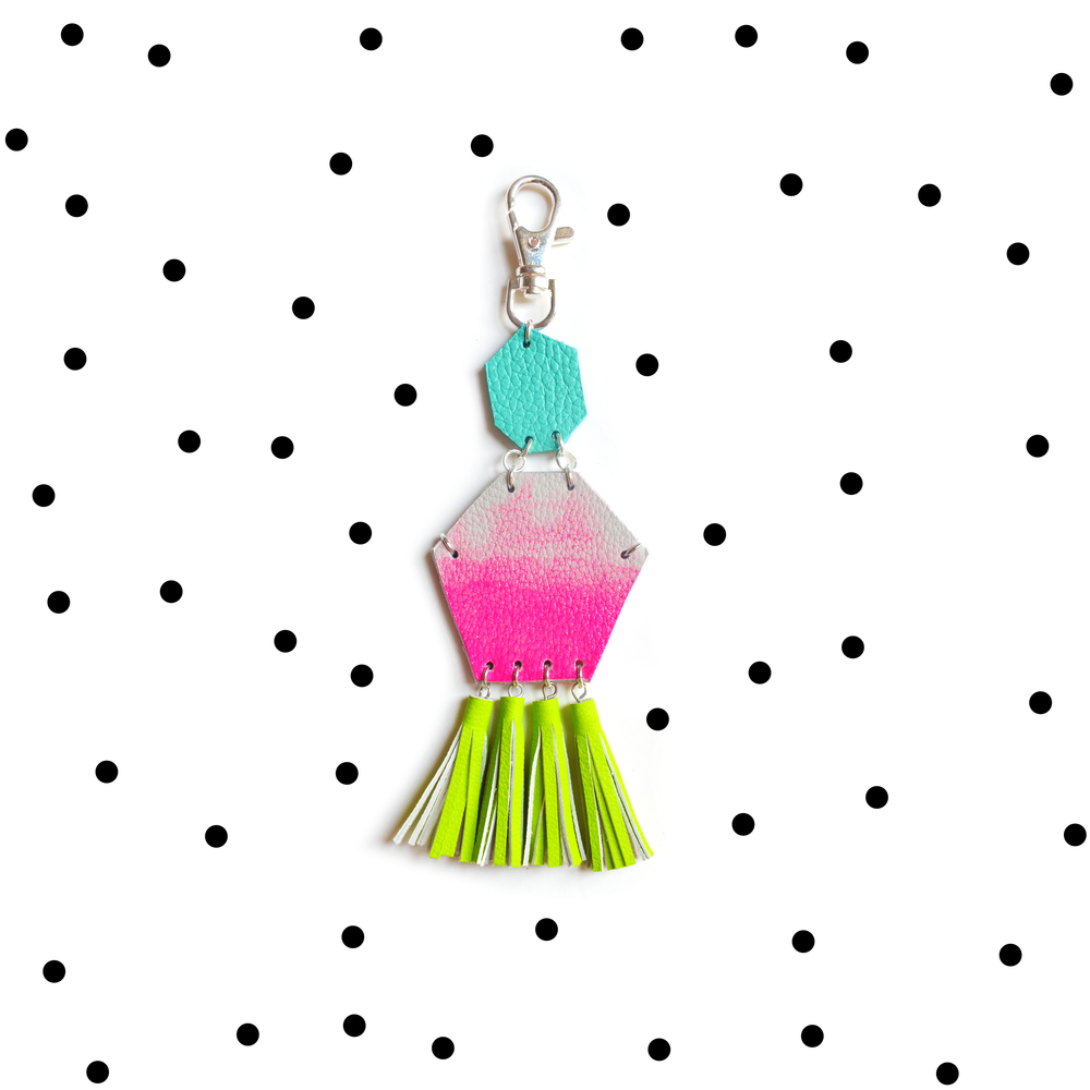 Hot Pink Key Chain, Unique Leather Tassel Key Chain, Neon Fringe Purse Clip, Pink Ombre, Turquoise and Neon Green Leather Key Fob, Leather Accessories.jpg