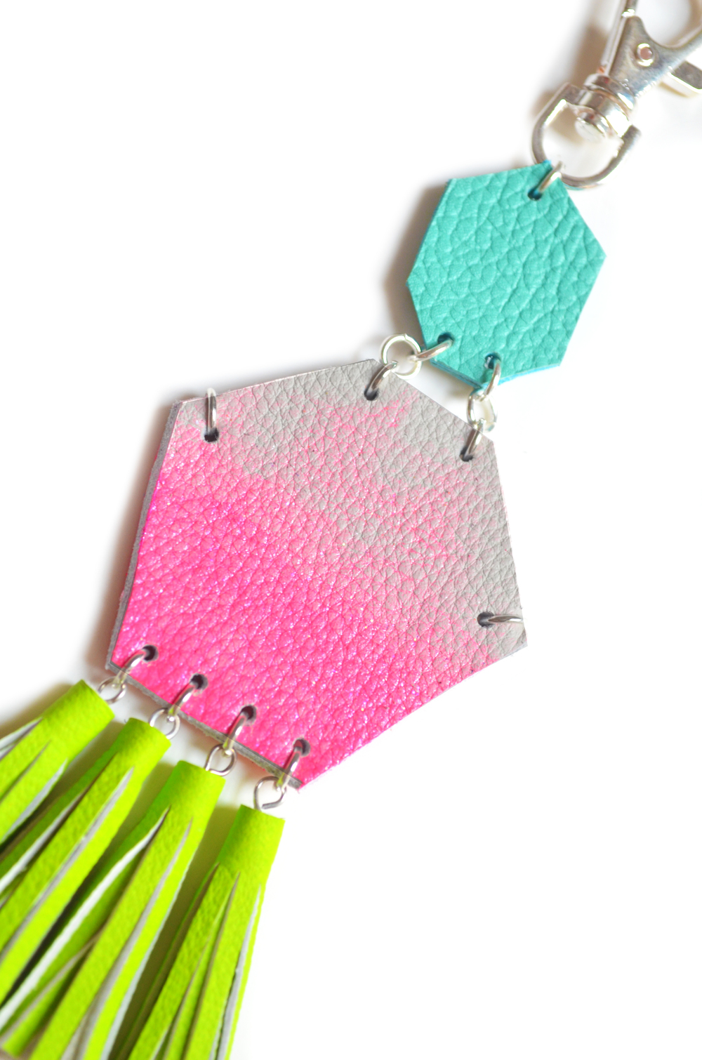 Hot Pink Key Chain, Unique Leather Tassel Key Chain, Neon Fringe Purse Clip, Pink Ombre, Turquoise and Neon Green Leather Key Fob, Leather Accessories 2.jpg