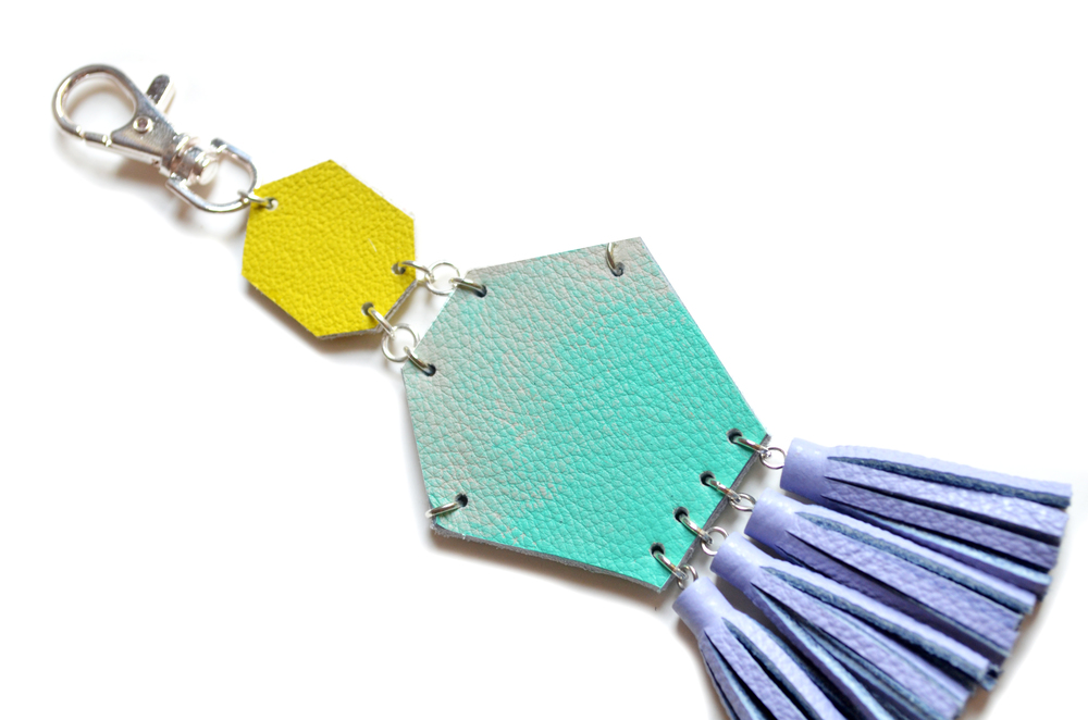 Mint Key Chain, Unique Leather Tassel Key Chain, Pastel Fringe Purse Clip, Teal Ombre, Green and Lavender Purple Leather Key Fob, Leather Accessories 4.jpg