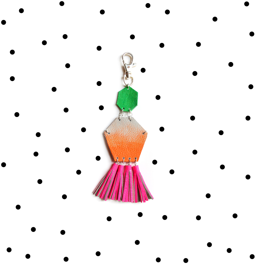 Hot Pink Key Chain, Unique Leather Tassel Key Chain, Neon Fringe Purse Clip, Orange Ombre and Green Leather Key Fob, Leather Accessories 2.jpg