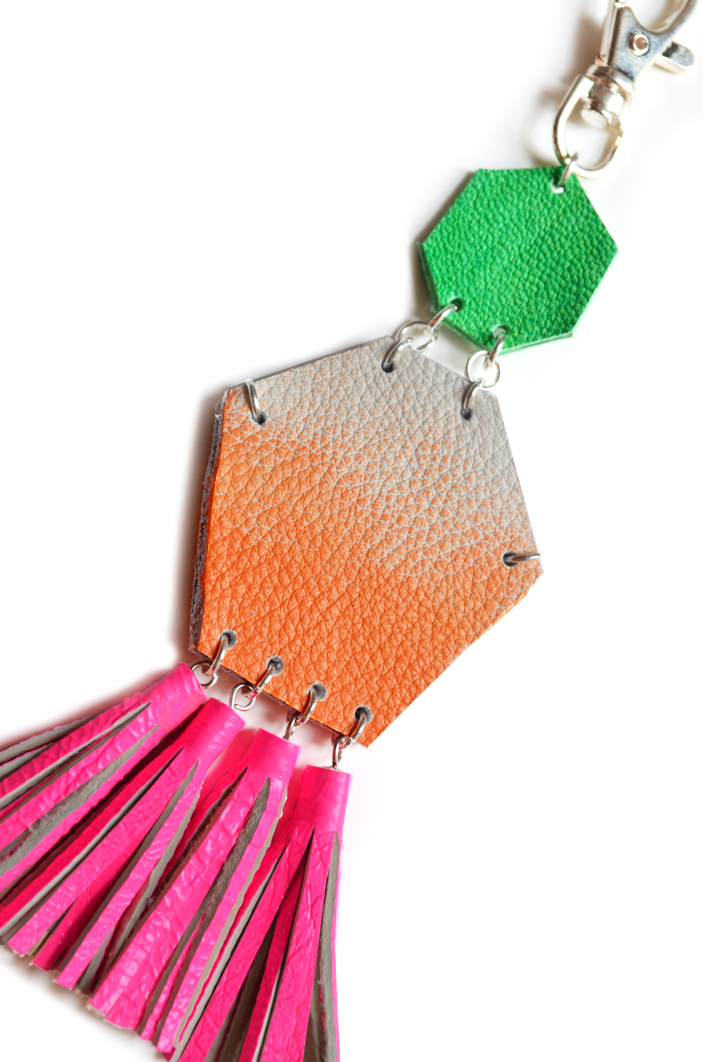 Hot Pink Key Chain, Unique Leather Tassel Key Chain, Neon Fringe Purse Clip, Orange Ombre and Green Leather Key Fob, Leather Accessories 4.jpg