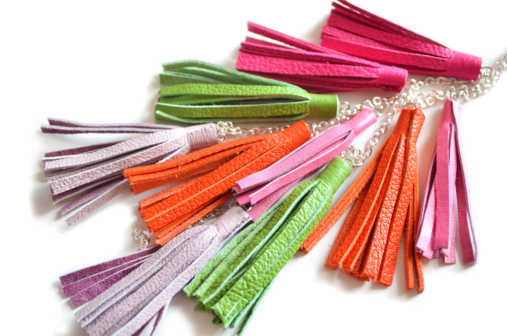 Leather Tassel Keychain, Fringe Purse Clip, Leather Key Fob, Neon Tribal Accessories 2 small.jpg