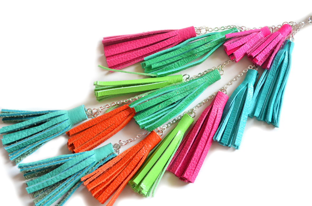 Leather Tassel Keychain, Fringe Purse Clip, Colorful Tribal Accessories 3 small.jpg