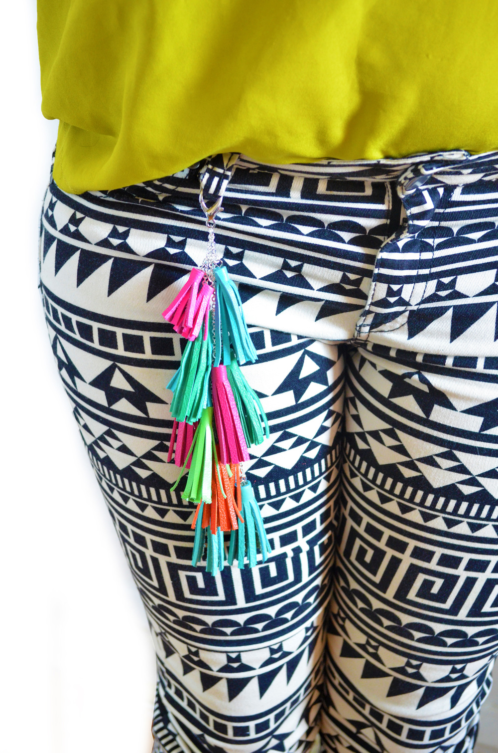 Leather Tassel Keychain, Fringe Purse Clip, Colorful Tribal Accessories 4 small.jpg