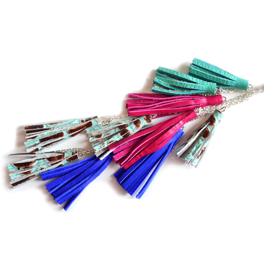 Leather Tassel Keychain, Fringe Purse Clip, Colorful Jewel Tone Tribal Accessories 2.jpg