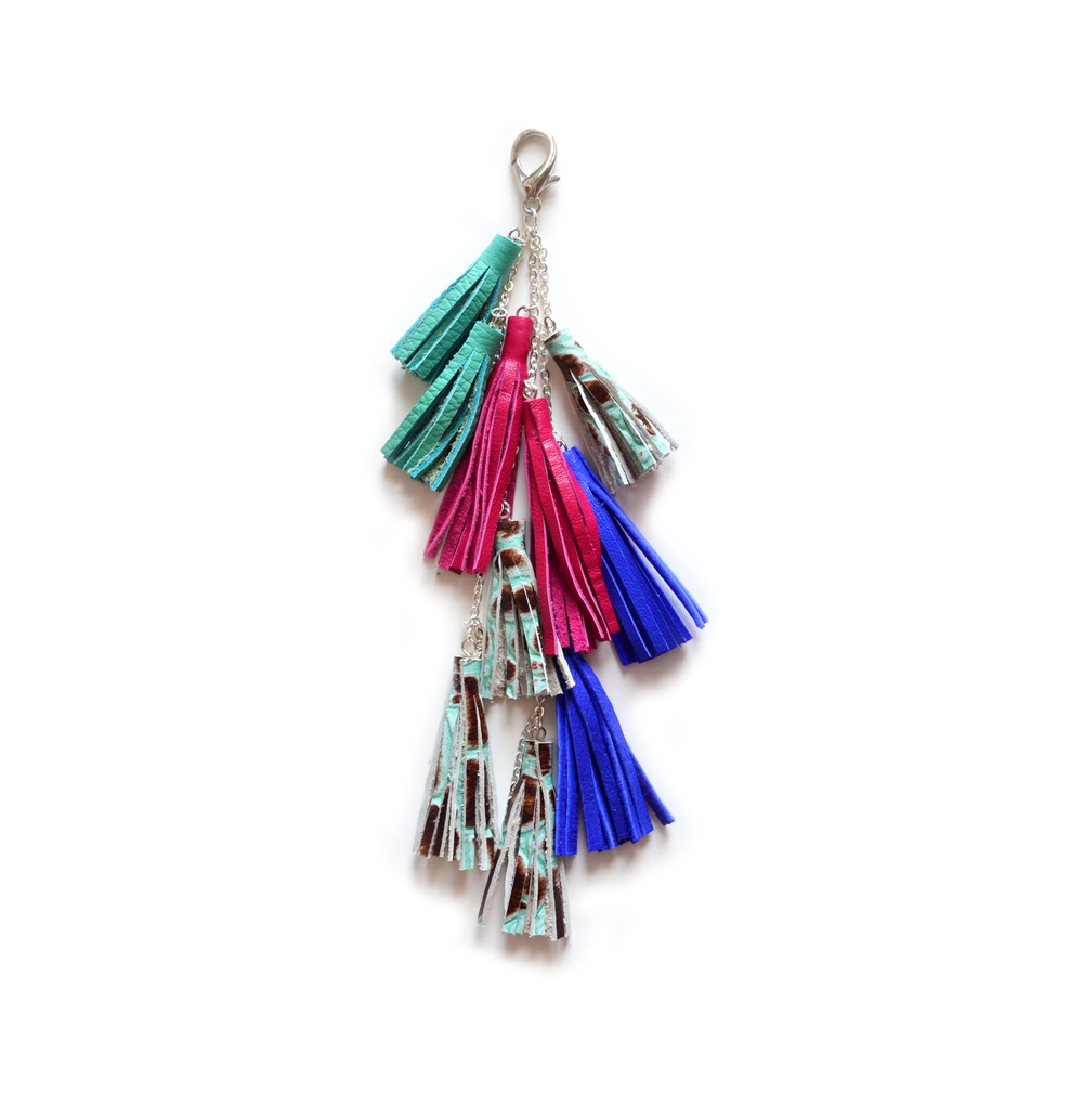 Leather Tassel Keychain, Fringe Purse Clip, Colorful Jewel Tone Tribal Accessories.jpg