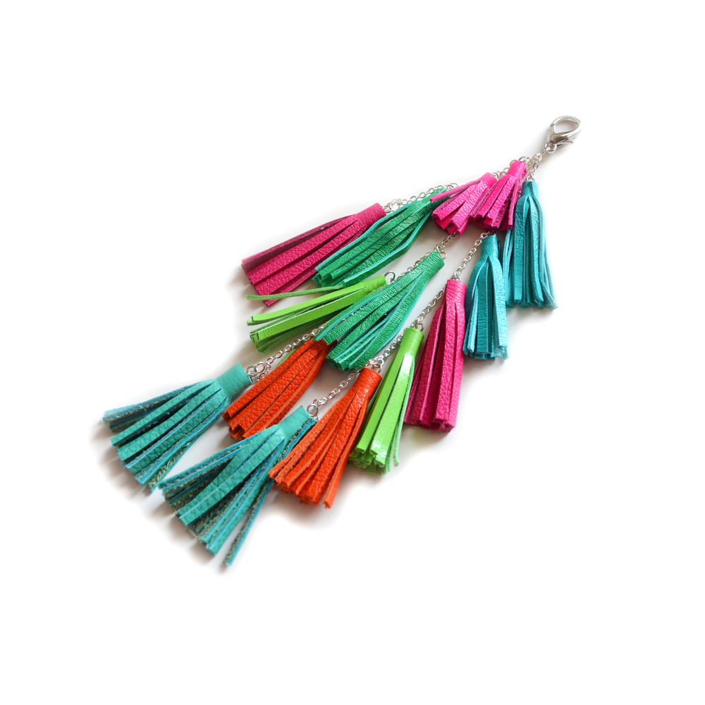 Leather Tassel Keychain, Fringe Purse Clip, Colorful Tribal Accessories 2.jpg