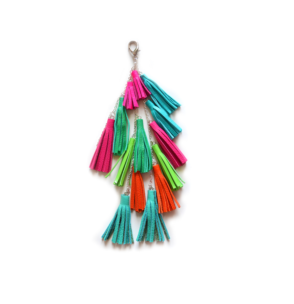 Leather Tassel Keychain, Fringe Purse Clip, Colorful Tribal Accessories.jpg