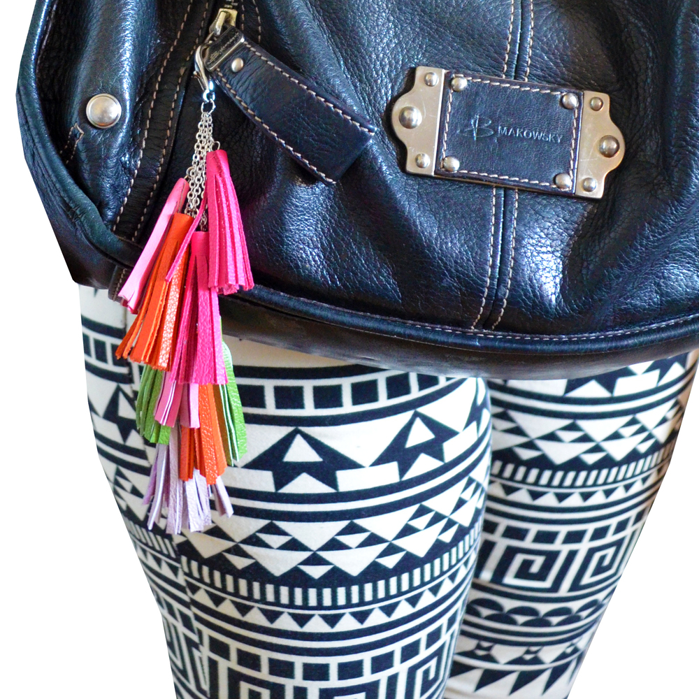 Leather Tassel Keychain, Fringe Purse Clip, Leather Key Fob, Neon Tribal Accessories 5.jpg