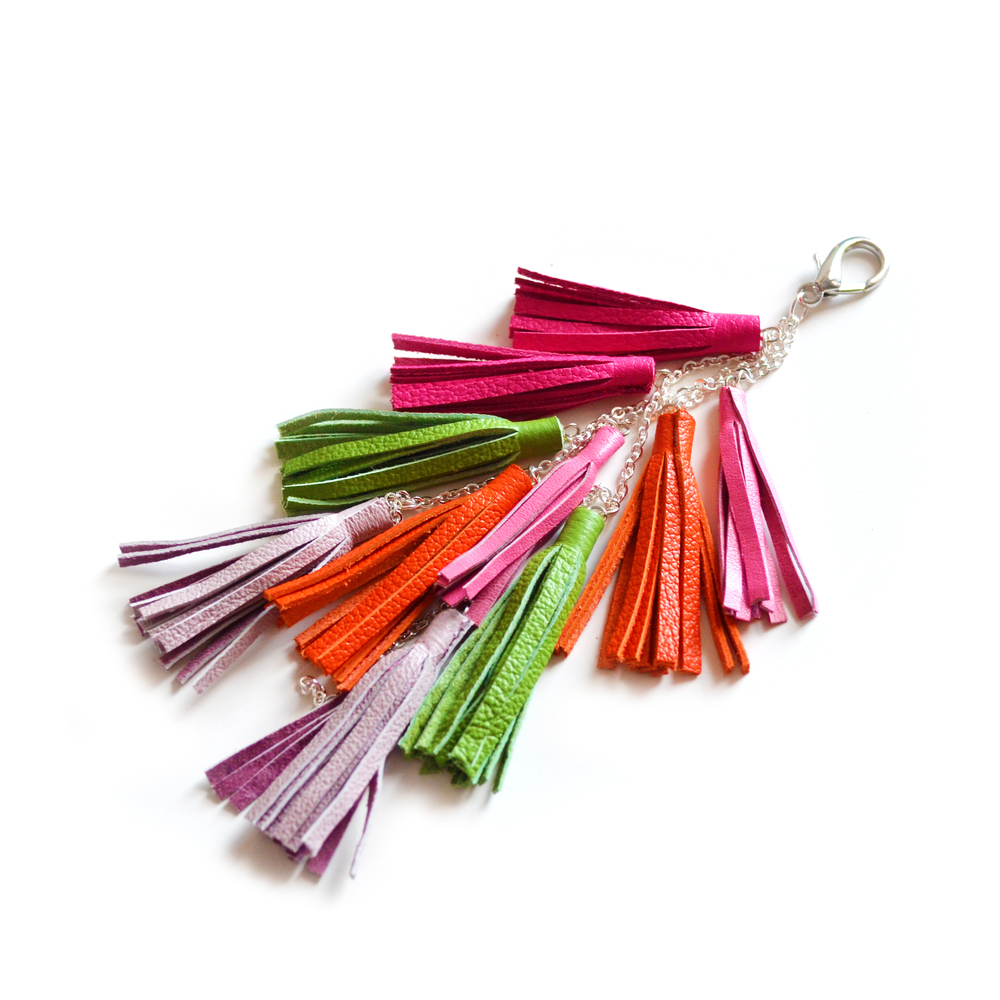 Leather Tassel Keychain, Fringe Purse Clip, Leather Key Fob, Neon Tribal Accessories.jpg